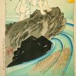 新形三十六怪撰より 「鬼若丸池中に鯉魚を窺ふ図」