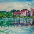 水彩画 湖畔