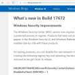 Windows10 Insider Preview 17672 で追加された「Windows Security Improvements」とは?