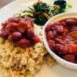 クルミ玄米ご飯と大正金時のトマトマト煮🍛