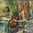 水彩画 森のギター弾き