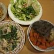 芋がらの煮物と肉野菜炒め:平日ディナー【4/5】