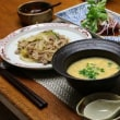 中華風献立 白菜と春雨と豚肉の炒め物・マグロのにんにくソースかけ・春巻き・中華風コーンスープ