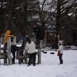 中鯖石コミセン校で雪遊び