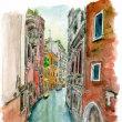 水彩画・ベネチュアを描く  37   歩道のないキャナル  230×310