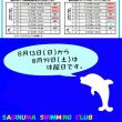 夏休み短期水泳教室申込状況(8月12日現在)