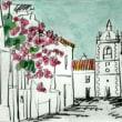 1330.ブーゲンビレアの咲くパヴィアの町角