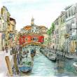 水彩画・ベネチュアを描く 9  オレンジ色の建物の見える風景  340×240