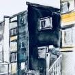 黒いアパート(屋根の傾斜が逆らっている)
