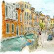 水彩画・ベネチュアを描く 13  乳母車を押す人の居る風景  250×270