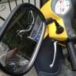 バイクの修理 前かご・バックミラー