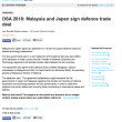 日本とマレーシアは、防衛装備品・技術移転協定に署名。