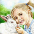 色鉛筆画452 (うさぎと女の子)