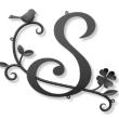 イニシャル「S」×蔦×四つ葉のクローバー×小鳥×双葉の妻飾り