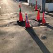◆3月8日の水害地でマンホールの周辺が陥没! 緊急に安全対策を行いました