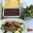 メキシコ風オーブン焼きチキン、黒豆の煮込み