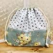 レトロっぽい花柄の巾着袋