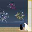 猫たちの花火見物