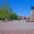 2018.06.01 リトアニア、ヴィリニュス: 保育園児の列が行く大聖堂広場の光景