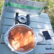 八重桜の下でホルモン鍋
