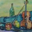 水彩画 静物 バイオリン