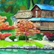 近水園の紅葉を描く