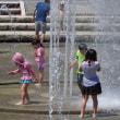 夏日に噴水を浴びて歓声を上げる子供達 (大阪鶴見区緑地公園)