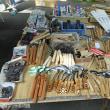大前神社骨董市 鍛冶農具並ぶ