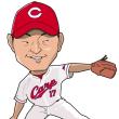 岡田明丈投手の似顔絵。