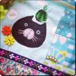 毎日暑~い!もう~頭に〇〇〇乗っけちゃう~とぼけた黒猫さんアップリケ、ブルーパッチワークポーチ!完成!