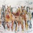 水彩画 雪国の馬たち