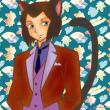 和柄と黒猫