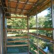 イヨボヤ会館塩引き道場の鮭干場改築作業