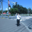 暑さが戻った札幌市内で街頭演説しました。