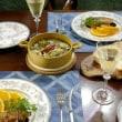 牡蠣のアヒージョと鶏のバルサミコ風味