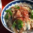 鯖の胡麻漬け丼にアボカド豆腐の献立