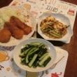 鮭フライ&メンチカツ&アスパラベーコン玉子とじ