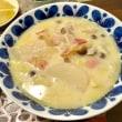 白菜とかぶのミルクスープの夕ご飯