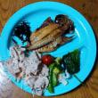 今朝の山賊食堂(5月19日)アジの開きと豚シャブサラダ