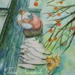 絵画販売・水彩原画「おばあちゃんと柴犬」