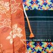 かわゆい椿柄のウールに緑の半幅帯に橙色の羽織