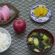 五島列島の蒲鉾に津軽の可愛いリンゴを添える朝