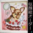 オーダーThanks ペットの似顔絵色紙画 誕生日模様