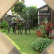 ラティスフェンスから見た我が庭 (2017年8月4日撮影)