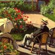 テラスに置かれる椅子に座る画家の父