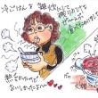 キムチ鍋の雑炊、メチャ美味しかったです。(イラスト)