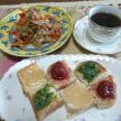 休日のランチ☆かんぴょうとベーコンの炒め物、カラフルトースト