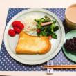 ハムとインゲンとブロッコリーの炒め物で朝ごはん