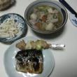崎陽軒の焼売、買って来た焼き鳥、鯖焼き・けんちん汁