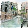 水彩画・ベネチュアを描く 11  ピンクの建物と白い橋  350×270